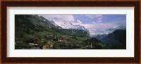 Framed High angle view of a village on a hillside, Wengen, Switzerland