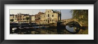 Framed Reflection of boats and houses in water, Venice, Veneto, Italy