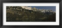 Framed Lake on mountainside, Lake Walensee, Zurich, Canton Of Zurich, Switzerland