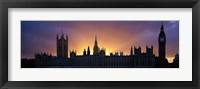 Framed Sunset Houses of Parliament & Big Ben London England