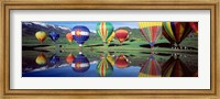 Framed Reflection Of Hot Air Balloons On Water, Colorado, USA