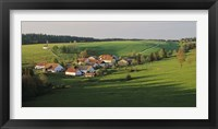 Framed Switzerland, Jura Mountains, La Bosse, High angle view of cottages in a valley