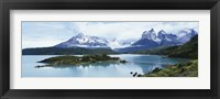 Framed Island in a lake, Lake Pehoe, Hosteria Pehoe, Cuernos Del Paine, Torres del Paine National Park, Patagonia, Chile