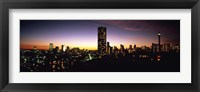 Framed Buildings in a city lit up at night, Johannesburg, South Africa
