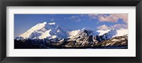 Framed Mountain covered with snow, Alaska Range, Denali National Park, Alaska, USA