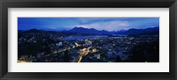 Framed Aerial view of a city at dusk, Lucerne, Switzerland