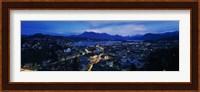 Framed Aerial view of a city at dusk, Lucerne, Switzerland