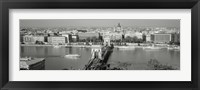Framed Chain Bridge Over The Danube River, Budapest, Hungary