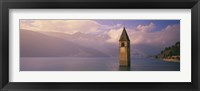 Framed Clock tower in a lake, Reschensee, Italy