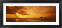 Framed Silhouette of rock formations in water, Northern California, California, USA