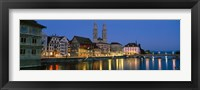 Framed Buildings at the waterfront, Grossmunster Cathedral, Zurich, Switzerland