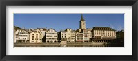 Framed Switzerland, Zurich, Buildings at the waterfront