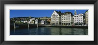 Framed Buildings at the waterfront, Limmat Quai, Zurich, Switzerland