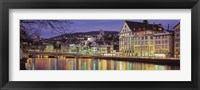 Framed Switzerland, Zurich, River Limmat, view of buildings along a river