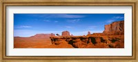 Framed Person riding a horse on a landscape, Monument Valley, Arizona, USA
