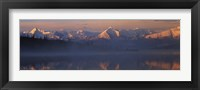 Framed Reflection of snow covered mountain range in the lake, Denali National Park, Alaska, USA