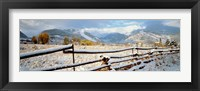 Framed Wooden fence covered with snow at the countryside, Colorado, USA