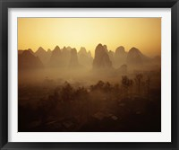 Framed Sunrise in Mountains Guilin China