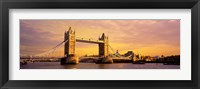 Framed Tower Bridge London England with Orange Sky