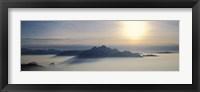 Framed Switzerland, Luzern, Pilatus Mountain, Panoramic view of mist around a mountain peak