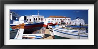 Framed Rowboats on a harbor, Mykonos, Greece