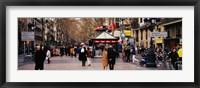 Framed Tourists in a street, Barcelona, Spain