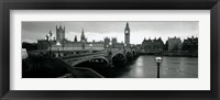 Framed Bridge across a river, Westminster Bridge, Houses Of Parliament, Big Ben, London, England