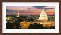 Framed High angle view of a city lit up at dusk, Washington DC, USA