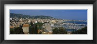 Framed Aerial View Of Boats Docked At A Harbor, Nice, France