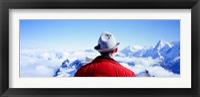 Framed Man Contemplating Swiss Alps, Switzerland