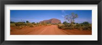 Framed Desert Road And Ayers Rock, Australia