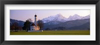 Framed St Coloman Church and Alps Schwangau Bavaria Germany