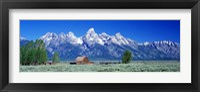Framed Barn On Plain Before Mountains, Grand Teton National Park, Wyoming, USA