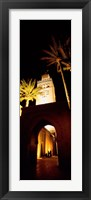 Framed Low angle view of a mosque lit up at night, Koutoubia Mosque, Marrakesh, Morocco