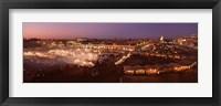 Framed High angle view of a market lit up at dusk, Djemaa El Fna, Medina Quarter, Marrakesh, Morocco
