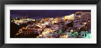 Framed Town at night, Santorini, Greece
