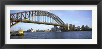 Framed Australia, New South Wales, Sydney, Sydney harbor, View of bridge and city