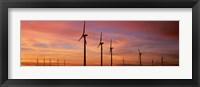 Framed Wind Turbine In The Barren Landscape, Brazos, Texas, USA