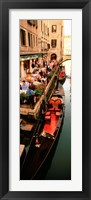 Framed Gondolas moored outside of a cafe, Venice, Italy