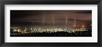 Framed High angle view of oil refinery at lit up at night, La Linea De La Concepcion, Andalusia, Spain