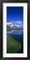 Framed Reflection of a mountain in water, Riffelsee, Matterhorn, Switzerland