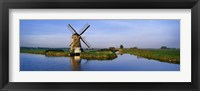 Framed Traditional Windmill On The Waterfront, Netherlands