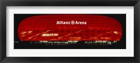 Framed Soccer Stadium Lit Up At Night, Allianz Arena, Munich, Germany