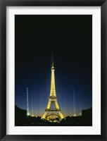Framed Tower lit up at night, Eiffel Tower, Paris, France