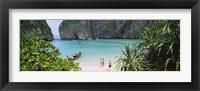 Framed High angle view of tourists on the beach, Mahya Beach, Ko Phi Phi Lee, Phi Phi Islands, Thailand