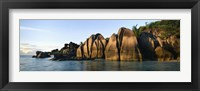 Framed Rock formations at the waterfront, Anse Source D'argent Beach, La Digue Island, Seychelles