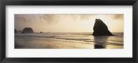 Framed Silhouette of rocks on the beach, Fort Bragg, Mendocino, California