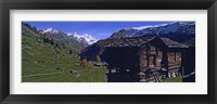 Framed Log cabins on a landscape, Matterhorn, Valais, Switzerland