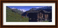 Framed Log cabins on a landscape, Matterhorn, Valais, Switzerland