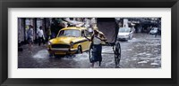 Framed Cars and a rickshaw on the street, Calcutta, West Bengal, India